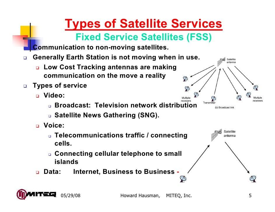 Types of Satellite Services              Fixed Service Satellites (FSS)Communication to non-moving satellites.Generally Ea...