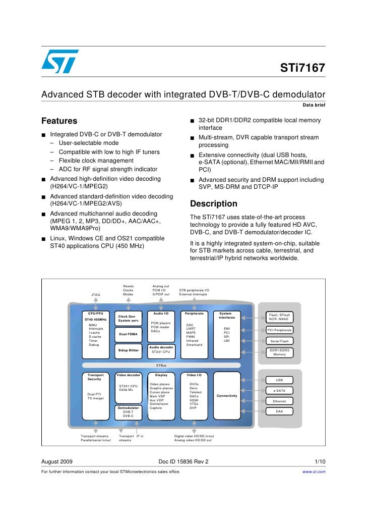 STi7167Advanced STB decoder with integrated DVB-T/DVB-C demodulator                                                       ...