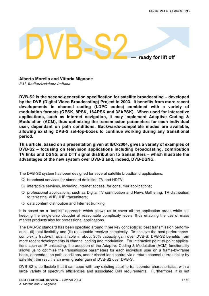 DIGITAL VIDEO BROADCASTING   DVB-S2                                                          — ready for lift offAlberto M...