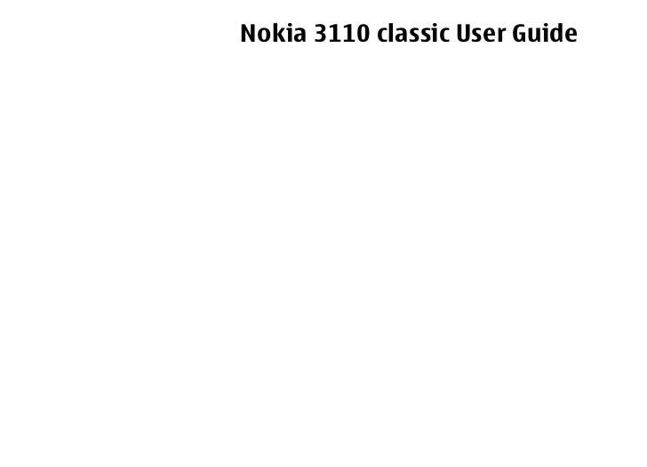 Nokia 3110 classic User Guide