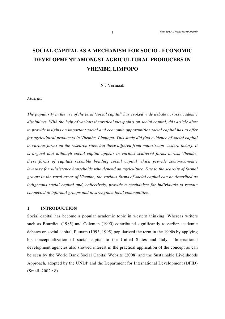 1                           Ref: SPEACHGreece10092010    SOCIAL CAPITAL AS A MECHANISM FOR SOCIO - ECONOMIC    DEVELOPMENT...