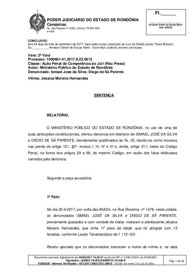 PODER JUDICIÁRIO DO ESTADO DE RONDÔNIA Cerejeiras Av. das Nações nº 2225, Centro, 76.997-000 e-mail: Fl.______ ___________...