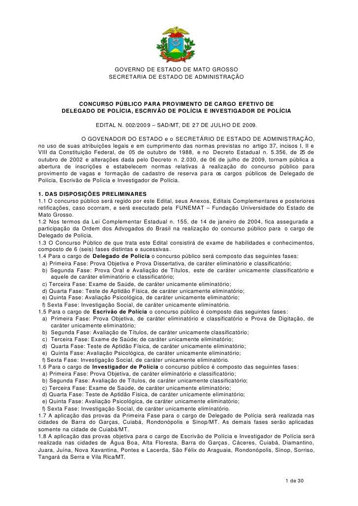 GOVERNO DE ESTADO DE MATO GROSSO                           SECRETARIA DE ESTADO DE ADMINISTRAÇÃO                CONCURSO P...