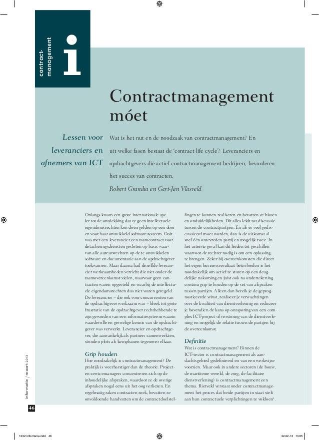 contract management  i  Contractmanagement móet  Lessen voor leveranciers en afnemers van ICT  Wat is het nut en de nood...