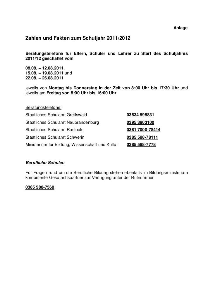 AnlageZahlen und Fakten zum Schuljahr 2011/2012Beratungstelefone für Eltern, Schüler und Lehrer zu Start des Schuljahres20...