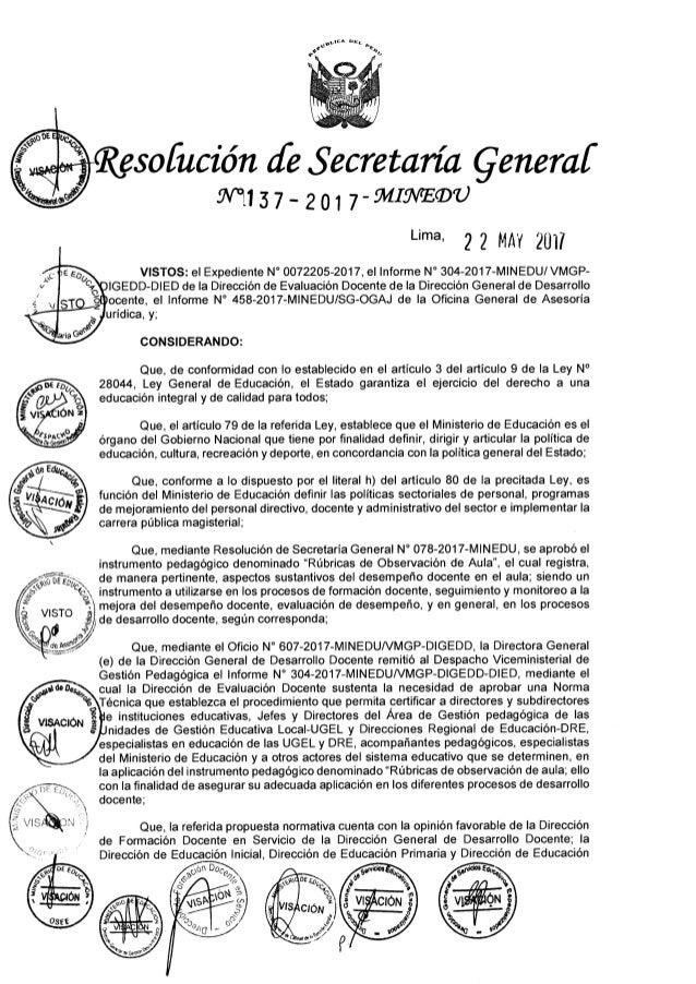 Norma que regula el procedimiento de certificación en la aplicación del instrumento pedagógico denominado Rúbrica de Obser...