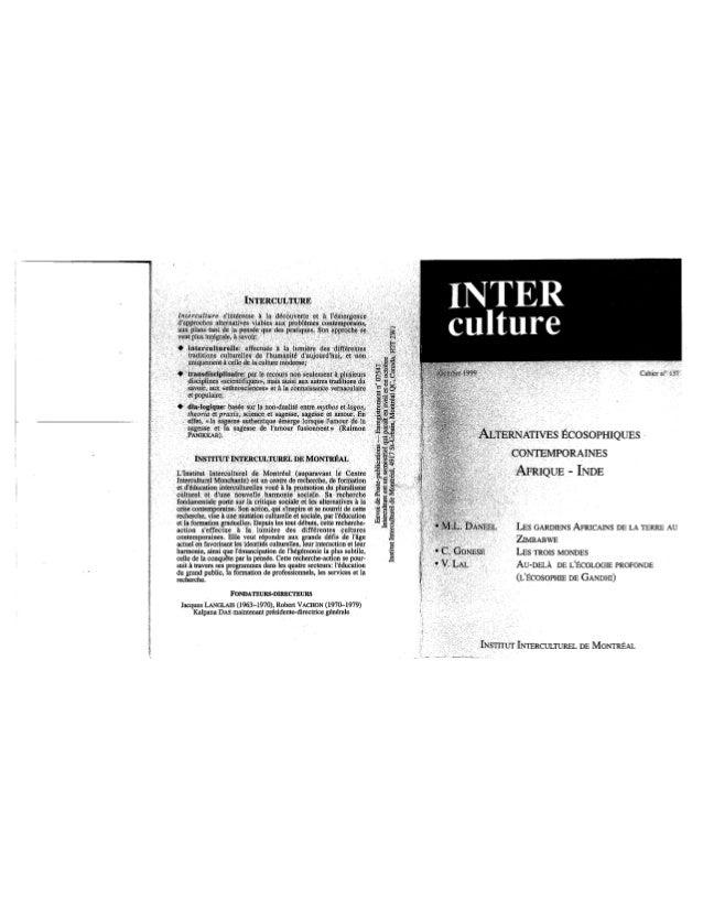 137 alternatives écosophiques contemporaines, m.l. daneel, c. gonese, v. lal. (document à télécharger en format pdf, 3...