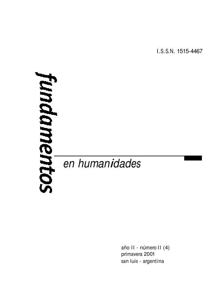 I.S.S.N. 1515-4467en humanidades          año II - número II (4)          primavera 2001          san luis - argentina