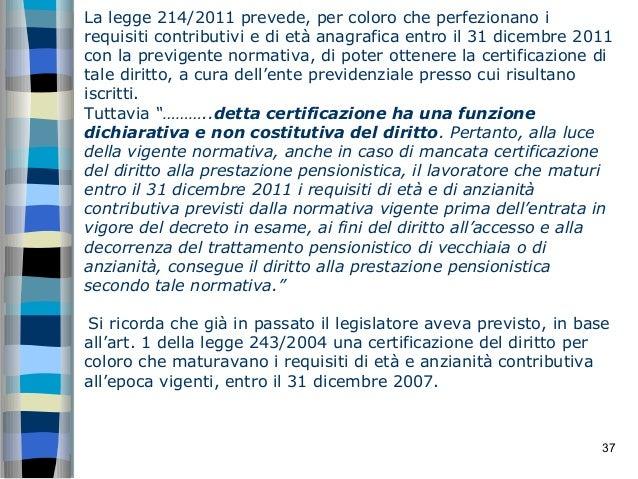 le novit introdotte dalla legge n 214 2011 in materia
