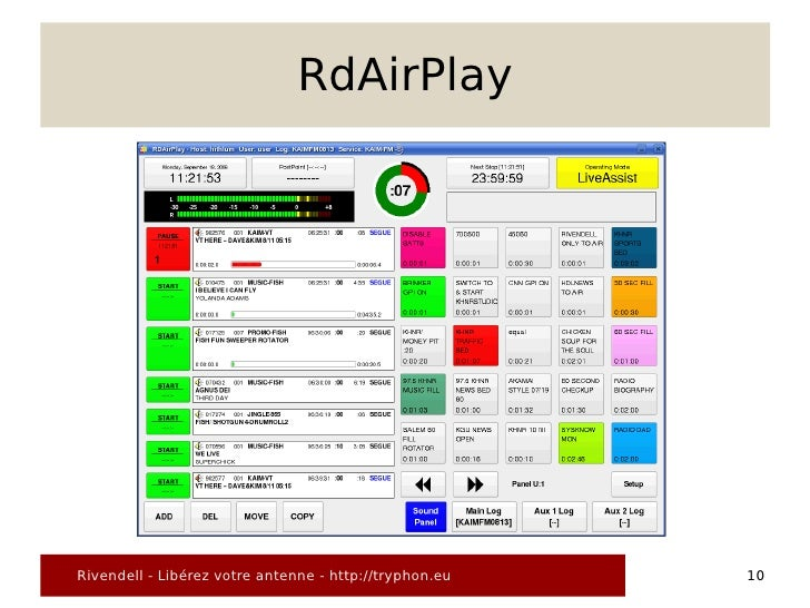 RdAirPlay     Rivendell - Libérez votre antenne - http://tryphon.eu   10