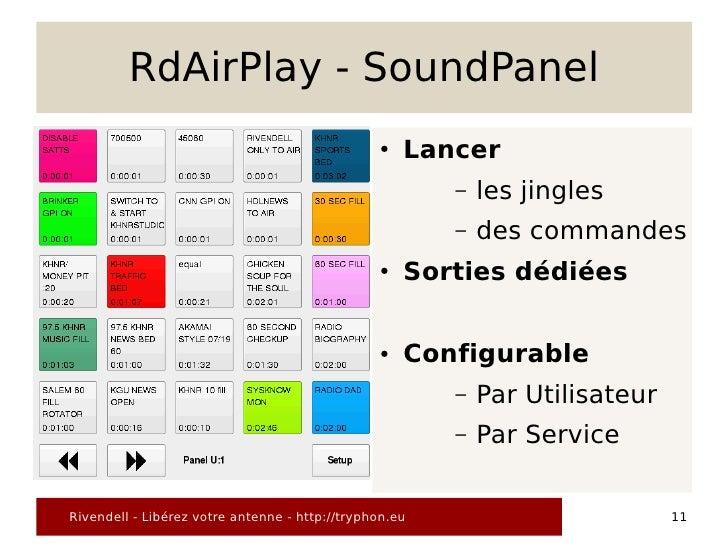 RdAirPlay - SoundPanel                                                 ●   Lancer                                         ...