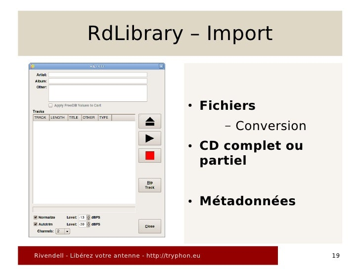 RdLibrary – Import                                                   ●   Fichiers                                         ...