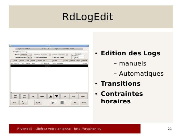 RdLogEdit                                                   ●   Edition des Logs                                          ...