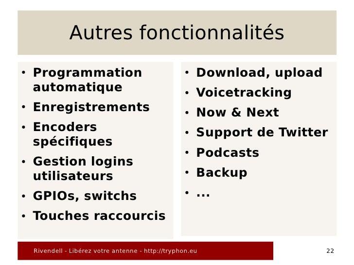 Autres fonctionnalités ●   Programmation                                   ●   Download, upload     automatique           ...