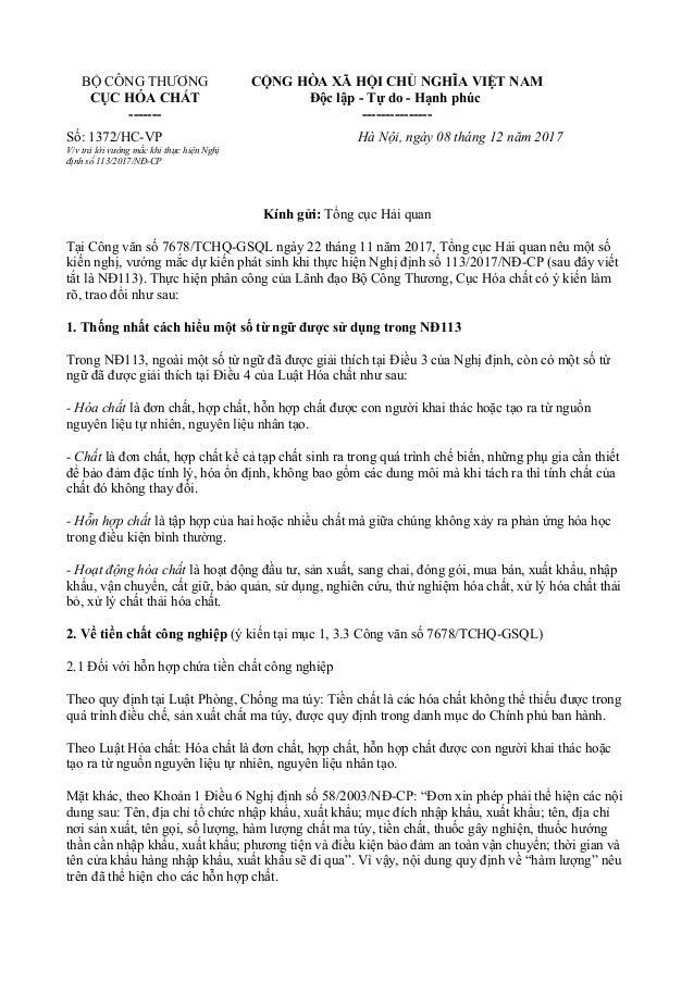 BỘ CÔNG THƯƠNG CỤC HÓA CHẤT ------- CỘNG HÒA XÃ HỘI CHỦ NGHĨA VIỆT NAM Độc lập - Tự do - Hạnh phúc --------------- Số: 137...