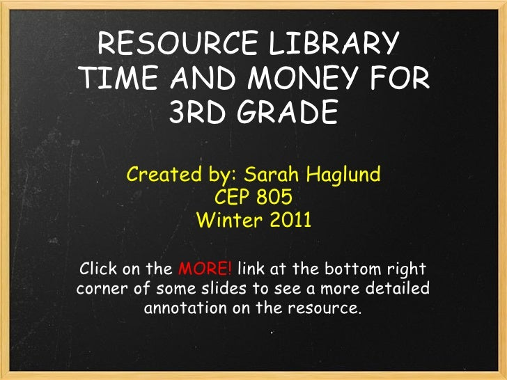 RESOURCE LIBRARYTIME AND MONEY FOR     3RD GRADE      Created by: Sarah Haglund              CEP 805            Winter 201...
