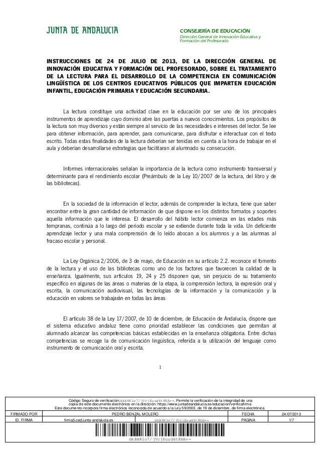 CONSEJERÍA DE EDUCACIÓN Dirección General de Innovación Educativa y Formación del Profesorado INSTRUCCIONES DE 24 DE JULIO...