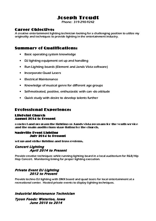 Entertainment Industry Resume Objective  Entertainment Industry Resume