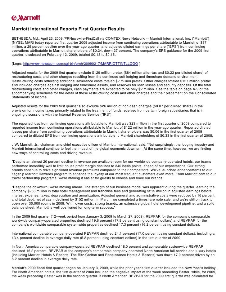 Marriott International Reports First Quarter Results BETHESDA, Md., April 23, 2009 /PRNewswire-FirstCall via COMTEX News N...