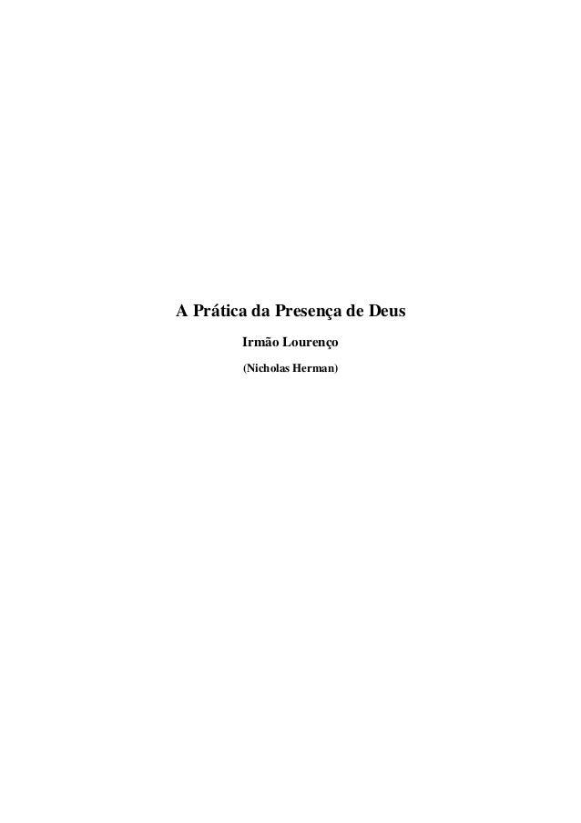 A Prática da Presença de Deus Irmão Lourenço (Nicholas Herman)