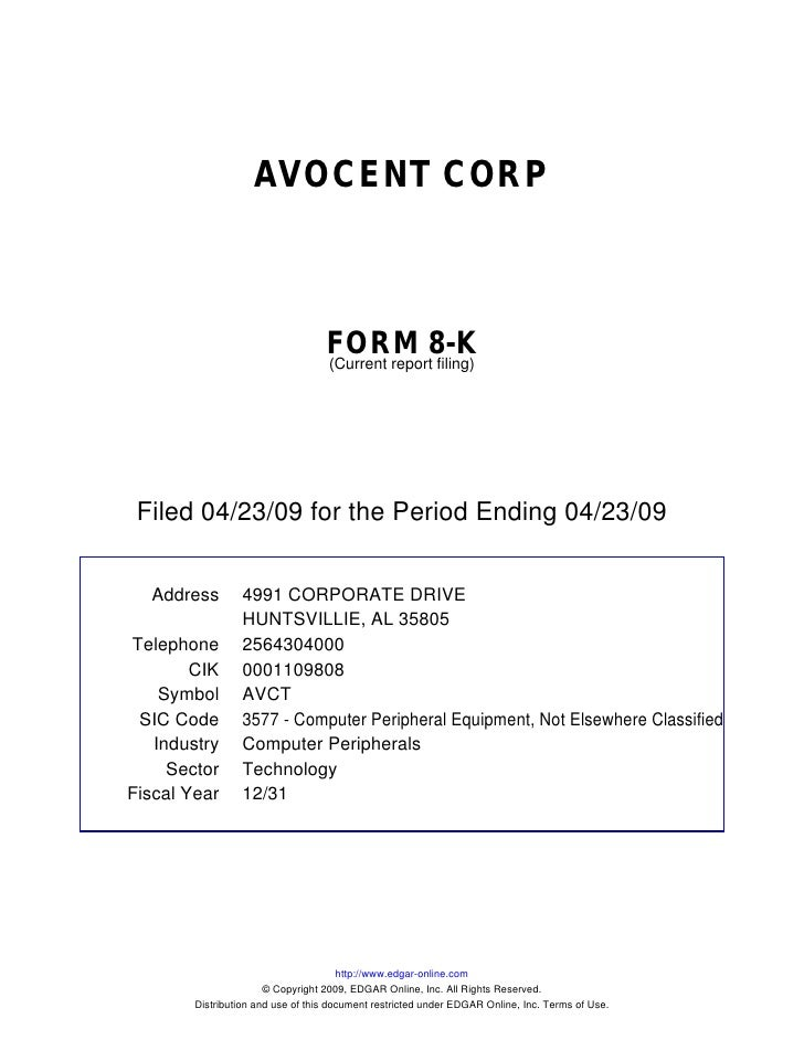 AVOCENT CORP                                       FORM 8-K                                    (Current report filing)    ...