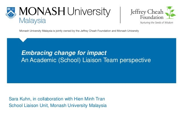 monash.edu Embracing change for impact An Academic (School) Liaison Team perspective Hien Tran Academic Librarian 26 Octob...