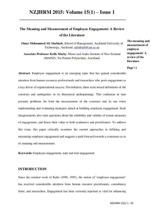 The meaning and measurement of employee engagement A review of the li…