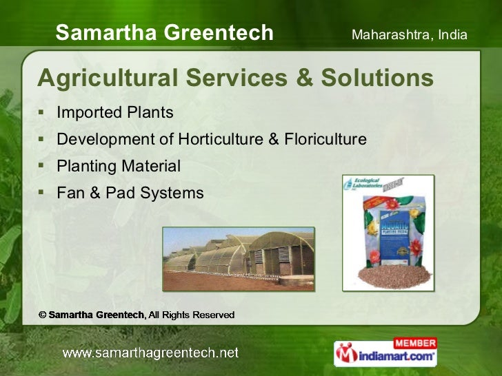 Agricultural Services & Solutions <ul><li>Imported Plants </li></ul><ul><li>Development of Horticulture & Floriculture </l...
