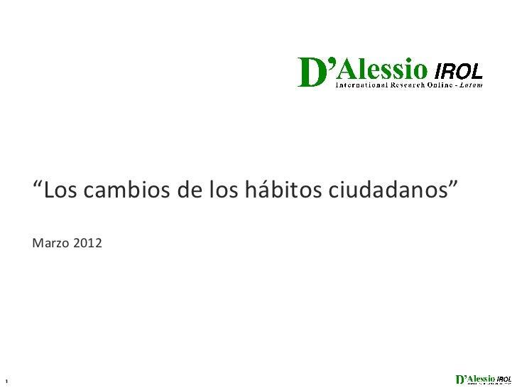 """""""Los cambios de los hábitos ciudadanos""""    Marzo 20121"""