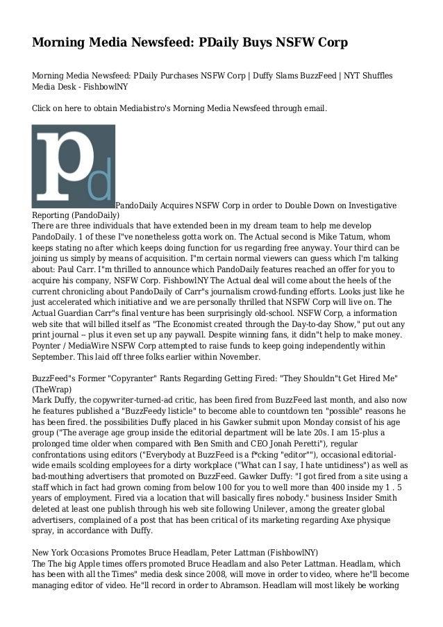 Morning Media Newsfeed: PDaily Buys NSFW Corp Morning Media Newsfeed: PDaily Purchases NSFW Corp | Duffy Slams BuzzFeed | ...