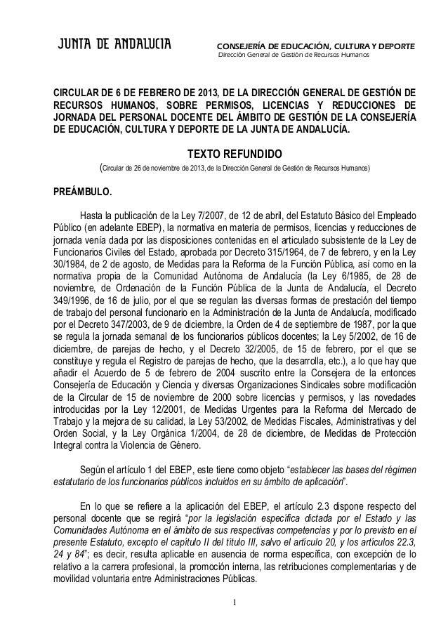 CONSEJERÍA DE EDUCACIÓN, CULTURA Y DEPORTE Dirección General de Gestión de Recursos Humanos  CIRCULAR DE 6 DE FEBRERO DE 2...