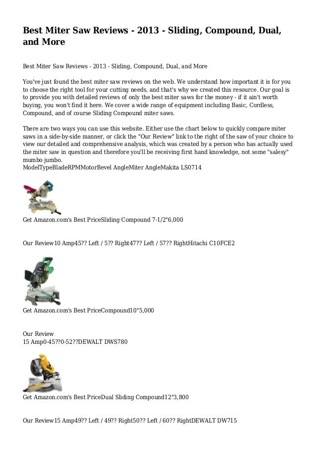 Best Miter Saw Reviews - 2013 - Sliding, Compound, Dual, and More Best Miter Saw Reviews - 2013 - Sliding, Compound, Dual,...