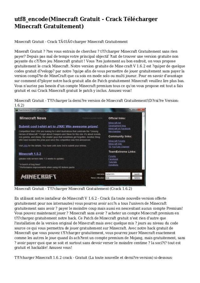 utf8_encode(Minecraft Gratuit - Crack Télécharger Minecraft Gratuitement) Minecraft Gratuit - Crack Télécharger Minecraf...