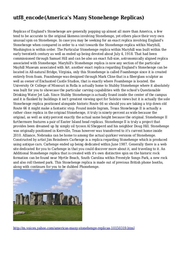 utf8_encode(America's Many Stonehenge Replicas) Replicas of England's Stonehenge are generally popping up almost all more ...
