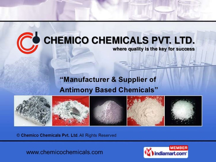 """CHEMICO CHEMICALS PVT. LTD.                where quality is the key for success  """"Manufacturer & Supplier of  Antimony Bas..."""