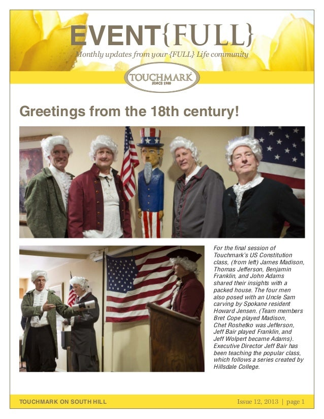EVENT{FULL} Monthly updates from your {FULL} Life community  Greetings from the 18th century!  For the final session of To...