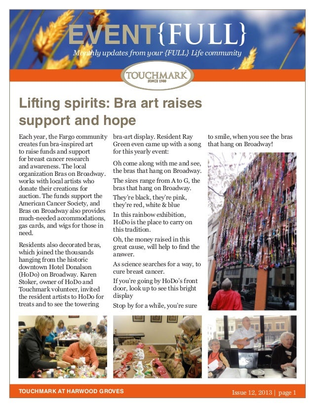EVENT{FULL} Monthly updates from your {FULL} Life community  Lifting spirits: Bra art raises support and hope Each year, t...