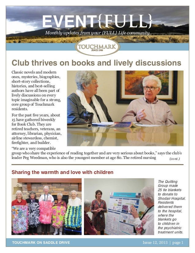EVENT{FULL} Monthly updates from your {FULL} Life community  Club thrives on books and lively discussions Classic novels a...