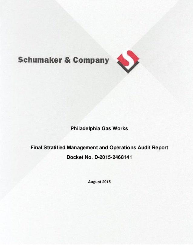 Schumaker Company Audit Of Philadelphia Gas Works August 2015
