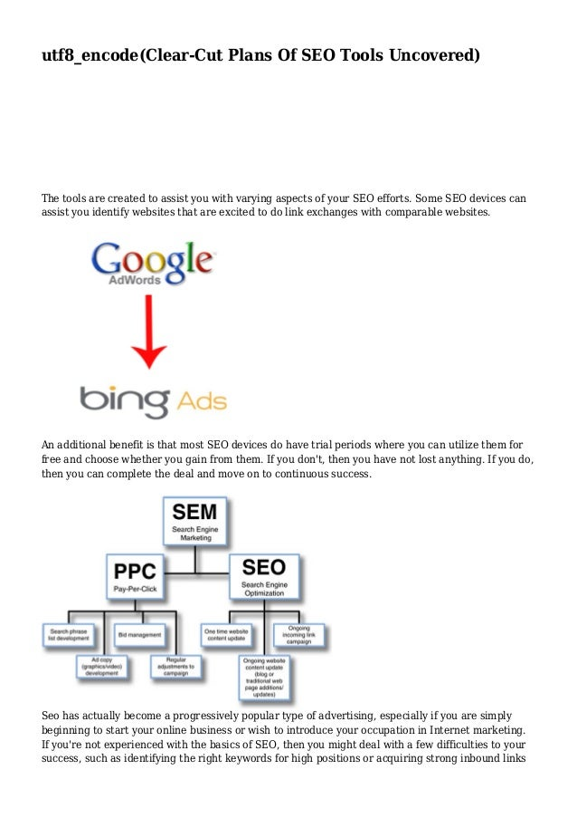 utf8_encode(Clear-Cut Plans Of SEO Tools Uncovered)  The tools are created to assist you with varying aspects of your SEO ...