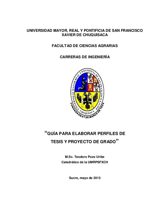 UNIVERSIDAD MAYOR, REAL Y PONTIFICIA DE SAN FRANCISCO XAVIER DE CHUQUISACA FACULTAD DE CIENCIAS AGRARIAS CARRERAS DE INGEN...