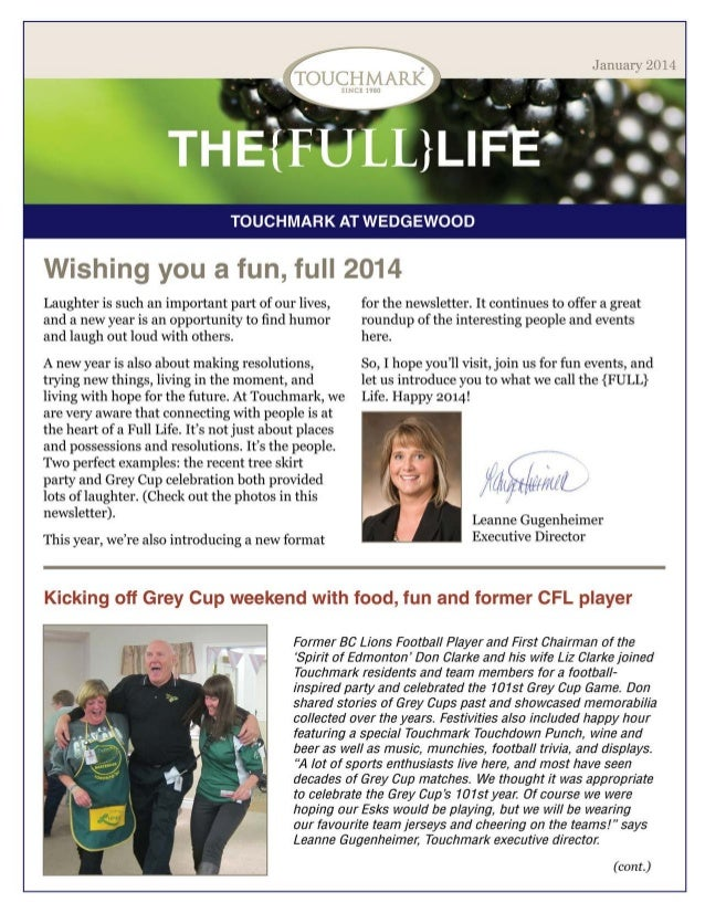 Touchmark at Wedgewood - January 2014 Newsletter