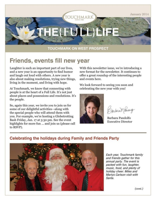 Touchmark on West Prospect - January 2014 Newsletter