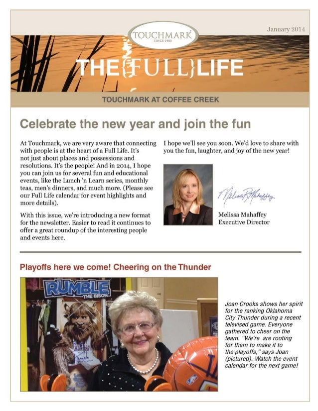 Touchmark at Coffee Creek -  January 2014 Newsletter