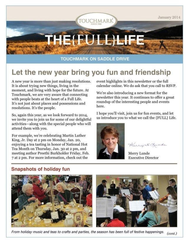 Touchmark on Saddle Drive - January 2014 Newsletter