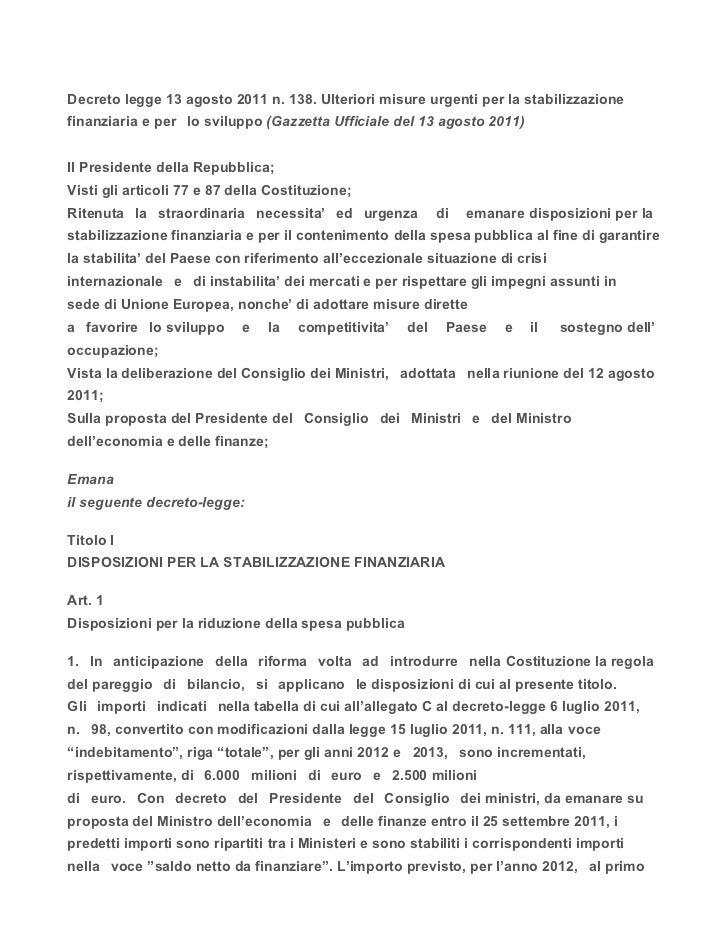 Decreto legge 13 agosto 2011 for Decreto presidente della repubblica