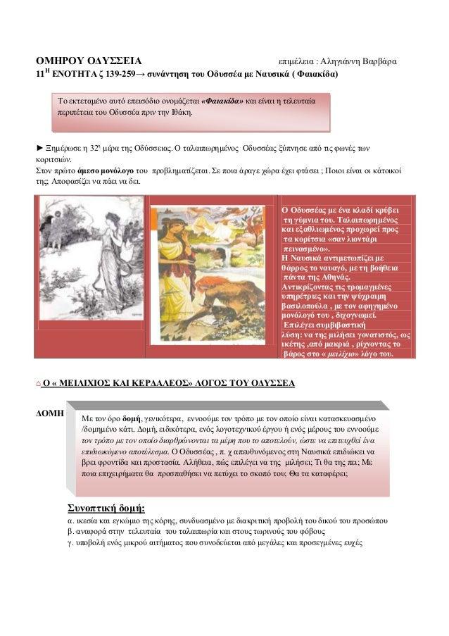 ΟΜΗΡΟΥ ΟΔΥΣΣΕΙΑ  επηκέιεηα : Αιεγηάλλε Βαξβάξα 11 ΕΝΟΤΗΤΑ δ 139-259→ ζπλάληεζε ηνπ Οδπζζέα κε Ναπζηθά ( Φαηαθίδα) Η  Τν εθ...