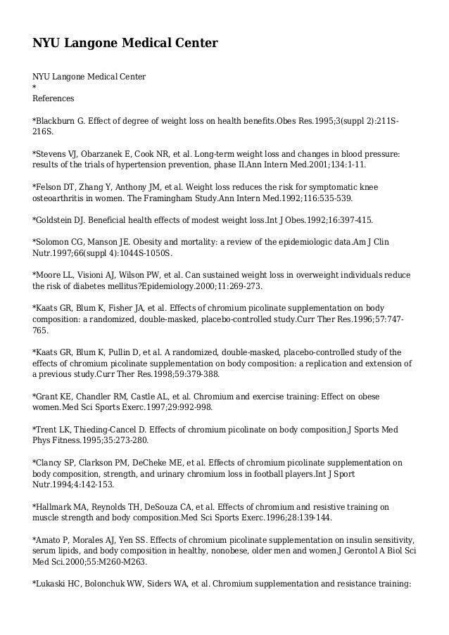 NYU Langone Medical Center NYU Langone Medical Center * References *Blackburn G. Effect of degree of weight loss on health...
