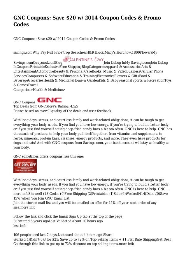 picture regarding Gnc Printable Coupons referred to as GNC Discount coupons: Conserve $20 w/ 2014 Coupon Codes Promo Codes