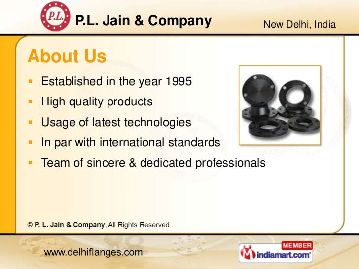 Metal Flanges by P. L. Jain & Company, New Delhi  Slide 2